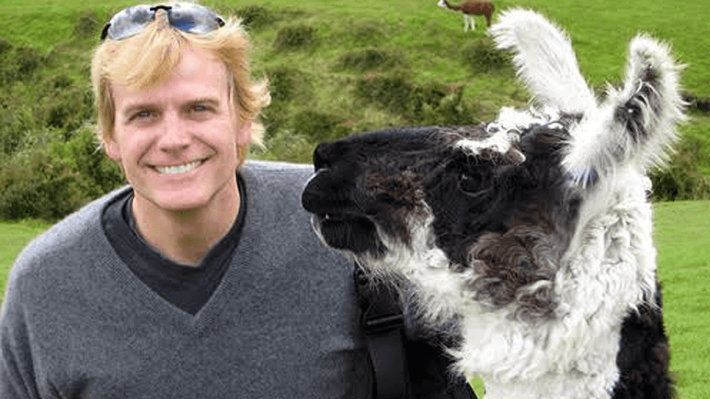 Jeffery Goddard with a Llama