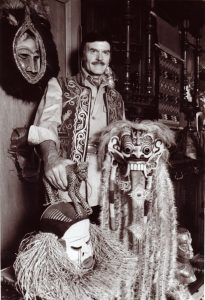 John Goddard poses with various talismans.