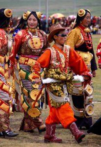 Tibetan women walking.
